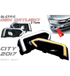 Fog Lamp Cover with Daylight Frame Bar 2 Tone Honda City 2017
