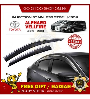 Chrome Line Mugen Air Press Window Injection Door Visor For Toyota Alphard/Vellfire 2015-2018