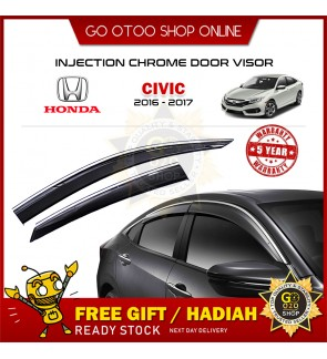 Chrome Line Mugen Air Press Window Injection Door Visor For Honda Civic 2016