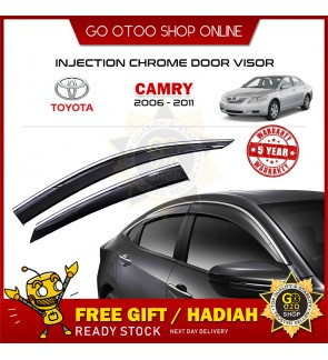 Chrome Line Mugen Air Press Window Injection Door Visor Wind Deflector For Toyota Camry 2006 - 2011