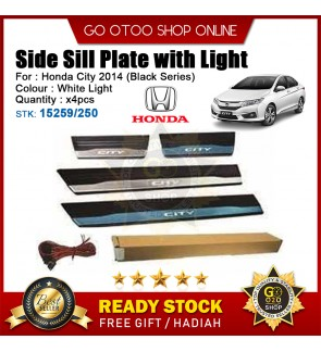 Honda City 2014 OEM Plug & Play Stainless Steel White LED Side Sill Step Plate