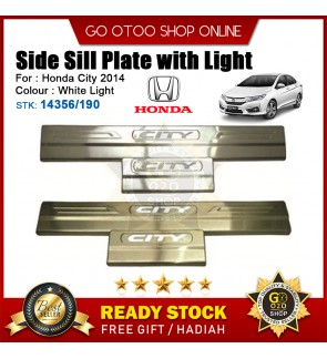 City 2014 OEM Plug & Play Stainless Steel White LED Car Door Side Sill Step Plate