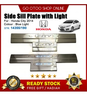 City 2014 OEM Plug & Play Stainless Steel Blue LED Car Door Side Sill Step Plate