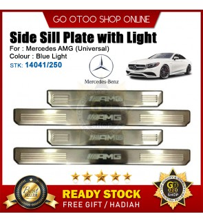 Mercedes AMG Universal OEM Plug & Play Stainless Steel Blue LED Car Door Side Sill Step Plate