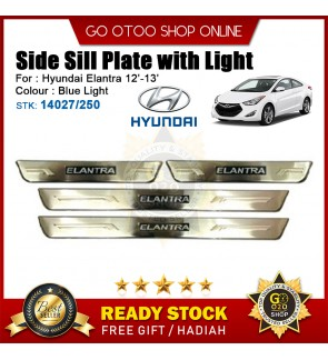 Hyundai Elantra 12' 13' OEM Plug & Play Stainless Steel Blue LED Car Door Side Sill Step Plate