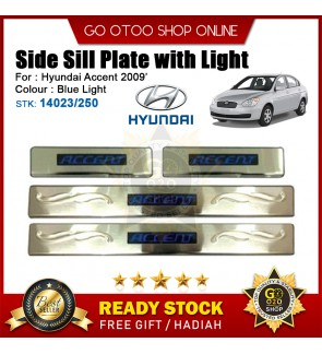 Hyundai Accent 2009 OEM Plug & Play Stainless Steel Blue LED Car Door Side Sill Step Plate