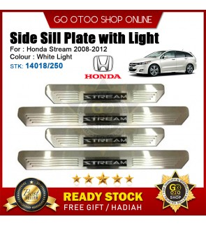 Honda Stream 2008-2012 OEM Plug & Play Stainless Steel White LED Car Door Side Sill Step Plate