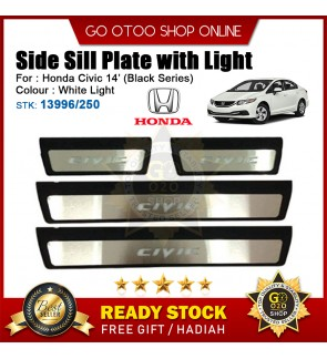 Honda Civic 2014 OEM Plug & Play Stainless Steel White LED Car Door Side Sill Step Plate(13996/250) Black Series