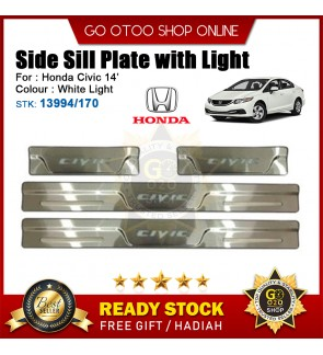 Honda Civic 2014 OEM Plug & Play Stainless Steel White LED Car Door Side Sill Step Plate(13994/170)