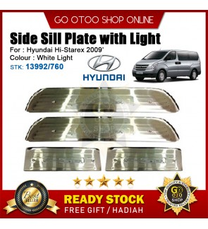 Hyundai Hi-Starex 2009 OEM Plug & Play Stainless Steel White LED Car Door Side Sill Step Plate(13992/760)
