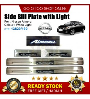 Nissan Almera OEM Plug & Play Stainless Steel White LED Car Door Side Sill Step Plate(13820/190)