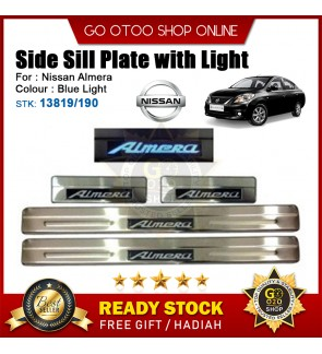 Nissan Almera OEM Plug & Play Stainless Steel Blue LED Car Door Side Sill Step Plate(13819/190)