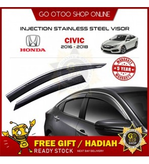 Chrome Line Mugen Air Press Window Door Visor Wind Deflector For Honda Civic 2016