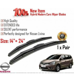 """100% High Quality Rubber Car Wiper Size (14"""" + 24"""") 1 Pair For Nissan Livina"""