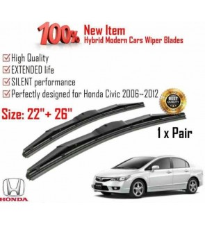 """100% High Quality Rubber Car Wiper Size (22"""" + 26"""") 1 Pair For Honda Civic 2006~2012"""