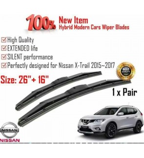 """100% High Quality Rubber Car Wiper Size (26"""" + 16"""") 1 Pair For Nissan X-Trail 2015-2017"""