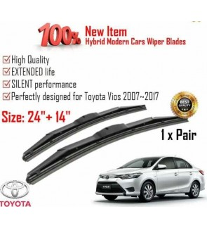 """100% High Quality Rubber Car Wiper Size (24"""" + 14"""") 1 Pair For Toyota Vios 2007-2017"""