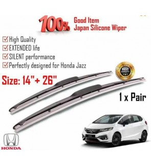 """100% Japan Silicone Car Wiper Size (26"""" + 14"""") 1 Pair For Honda Jazz"""