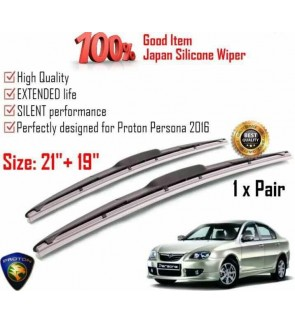 """100% Japan Silicone Car Wiper Size (21"""" + 19"""") 1 Pair For Proton Persona 2016"""