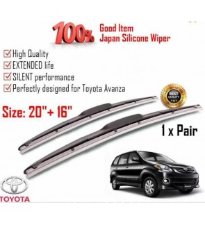 """100% Japan Silicone Car Wiper Size (20"""" + 16"""") 1 Pair For Toyota Avanza"""