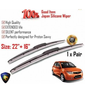 """100% Japan Silicone Car Wiper Size (22"""" + 16"""") 1 Pair For Proton Savvy"""