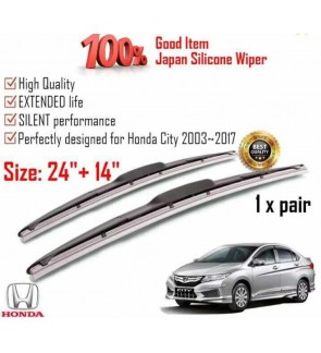 """100% Japan Silicone Car Wiper Size (24"""" + 14"""") 1 Pair For Honda City 2003~2017"""