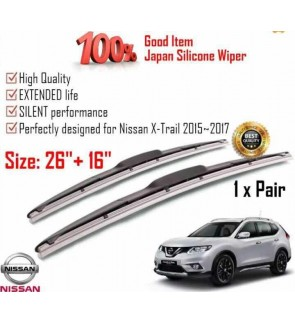 """100% Japan Silicone Car Wiper Size (26"""" + 16"""") 1 Pair For Nissan X-Trail 2015~2017"""