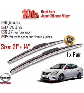 """100% Japan Silicone Car Wiper Size (21"""" + 14"""") 1 Pair For Nissan Almera"""