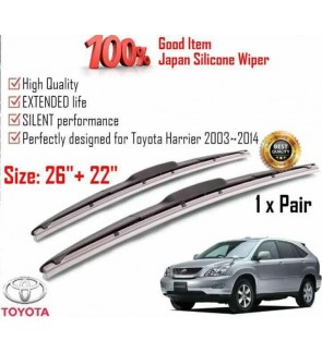 """100% Japan Silicone Car Wiper Size (26"""" + 22"""") 1 Pair For Toyota Harrier 2003~2014"""
