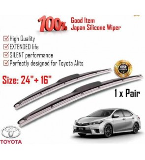 """100% Japan Silicone Car Wiper Size (24"""" + 16"""") 1 Pair For Toyota Alits"""