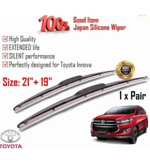 """100% Japan Silicone Car Wiper Size (21"""" + 19"""") 1 Pair For Toyota Innova"""