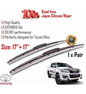 """100% Japan Silicone Car Wiper Size (17"""" + 17"""") 1 Pair For Toyota Hilux"""